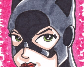 """Catwoman Batman ACEO trading card2 1/2"""" x 3 1/2"""""""