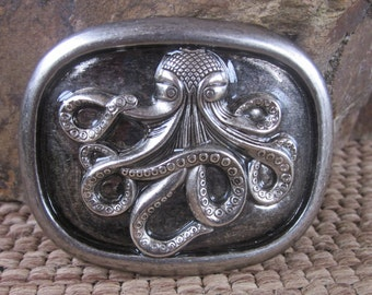 octopus belt buckle silver belt buckle ornate octopus unique belt buckle resin belt buckle Lavish Lucy Designs mens belt buckle