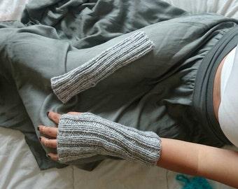 Gray minimalist fingerless gloves, long minimalist gloves, long fingerless mittens, women gloves, winter gloves