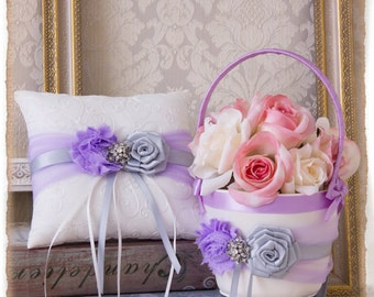 Orchid Flower Girl Basket and Ring Bearer Pillow Set in Lavender and Silver