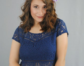 Large Flower Crown - Purple and White