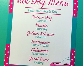 Pink & Blue Party Menu, dog theme party,Pawty Time, 8x10 printed party sign, customization available