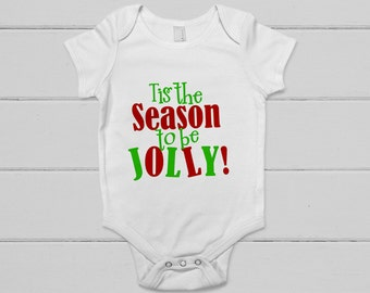 christmas baby shirt - holiday Baby outfit - red green - tis the season to be jolly