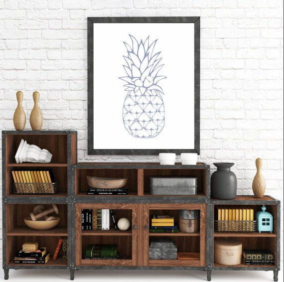 Pineapple, Printable, Printable Pineapple, Pineapple Art, Purple Kitchen Art, Modern Art, Summer Print, Summer Art, Wall Art, Wall Printable