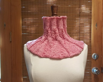 Hand Knit Pink Wool NeckWarmer / Cowl / Scarf / Snood