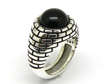 Mens sterling silver 925 brick wall enamel signet ring grilled onyx cabochon free sizing free shipping