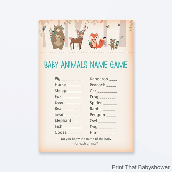 Baby Shower Game Name The Baby Animal: Baby Shower Games Baby Animals Name Game Woodland Baby