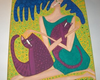 She Who Loves and Protects woman goddess mother cats 11x14 painting abstract whimsical naive outsider folk art OOAK original art by micki