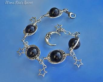 Blue Goldstone Galaxy Bracelet, Planet Bracelet, Moon and Stars Bracelet, Dark Blue Bracelet, Celestial Jewelry, Mothers Day Gift