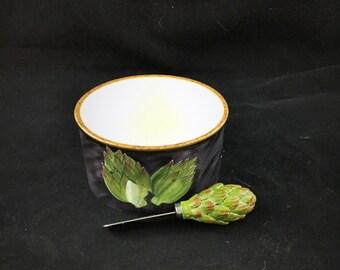 Vintage Susan Winget Ceramic Dip Bowl and Spreader