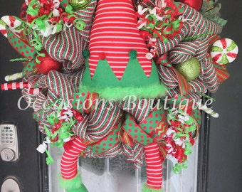 Christmas Wreath, Holiday Wreath, Christmas Decoration, Elf Wreath, Front door wreath, Outdoor Wreath, Large Wreath, Door Hanger