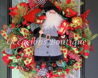 Last One! Christmas Wreath, Holiday Wreath, Santa, Christmas Decoration, Christmas Gift, XL Wreath, Whimsical Christmas Wreath