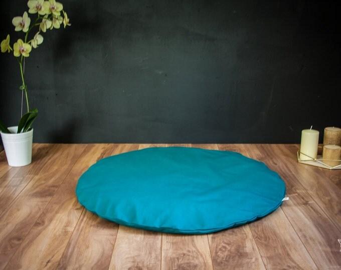 Round Zabuton Meditation mat floor cushion mattress Teal Plain cotton organic Buckwheat pillow by Creations Mariposa Zb-SU