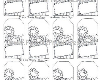 Sunflower Printable Hang Tags - E-File/Instant Download
