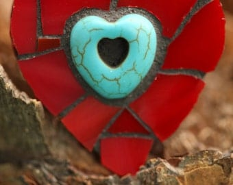 Mosaic Heart Magnet~Stained Glass Mosaic Heart Magnet~Red Stained Glass Magnet~Red Heart Magnet~Turquoise Heart~Thank You Gift~Hostess Gift