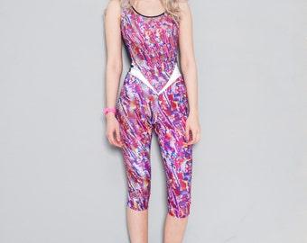 Reflective Yoga Bodysuit Burnt Soul - Vibe Catsuit - High Quality Lycra in Bespoke Print Gym Catsuit Yoga Jumpsuit