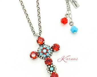 URBAN COWGIRL 8mm Crystal Red, Turquoise, & Pearl Cross Necklace Swarovski Elements *Antique Silver *Karnas Design Studio *Free Shipping