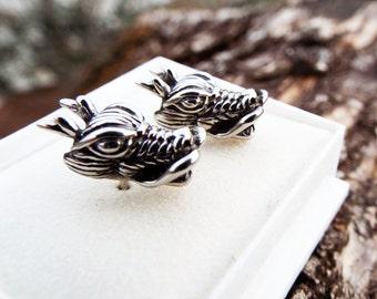 Dragon Earrings Studs Silver Handmade Gothic Dark Serpent Symbol Stainless Steel Jewelry