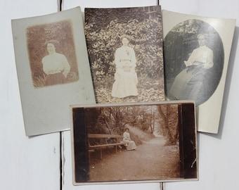 Outdoor ladies, 4 portraits, Edwardian girls, Art Deco, sepia photos, vernacular photos, ephemera paper, mixed media art, collage supply