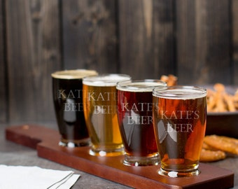 Custom Engraved Beer Flight - Groomsmen Custom Flight Tray - Beer Sampler - Engraved Beer Sampler - Beer Lover - Groomsman Gift - Flight
