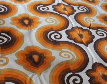 60er 70er Jahre Original 70er Jahre Vorhang Gardine 230 cm x 112 cm Pop Art Psychedelisch Space Age Stoff Panton Visiona Style Design Orange