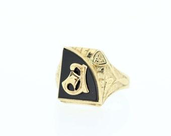 L Signet Ring 10K Black Onyx