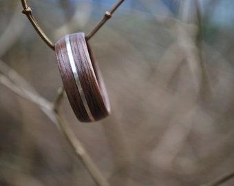 Wood ring - Bent Wood Ring - Black Walnut Wood Ring - Sterling Silver Wood Ring - Custom Wood Ring - Fifth Anniversary Gift - Wooden Ring