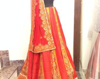 Bollywood inspired - Indian Pakistani Yellow Red and Gold Bridal Lehenga