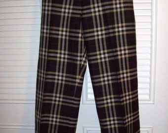Pants 10, 100% Wool Talbot's Plaid Pants - Rich Elegant Find For Your Winter Wardrobe Size 10
