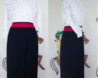 40s Wool Skirt | 40s Black Skirt | 40s Pencil Skirt | Red & Black Skirt | 1940s Skirt | 40s Red Skirt | 40s Wiggle Skirt | 26 Waist