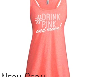 2XL - Plexus Drink Pink and Move Women's Melange Neon Coral Racerback Tank