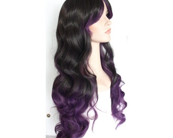Super long dark brown eggplant ombre curly wig