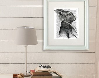 Rabbit Portrait Profile: rabbit picture rabbit illustration rabbit print rabbit decor Woodland Nursery décor Nursery Art for Kids Room Décor