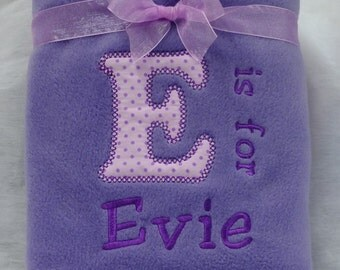 Personalised Embroidered Fleece Baby Blanket With Babies Name Lilac