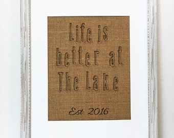 UNFRAMED Life Is Better At The Lake / Burlap Print Sign 5x7 8x10 / CUSTOM Rustic Housewarming Lake House Boathouse Birthday Gift Family Sign