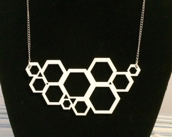 Hexagon Laser-Cut Acrylic Necklace
