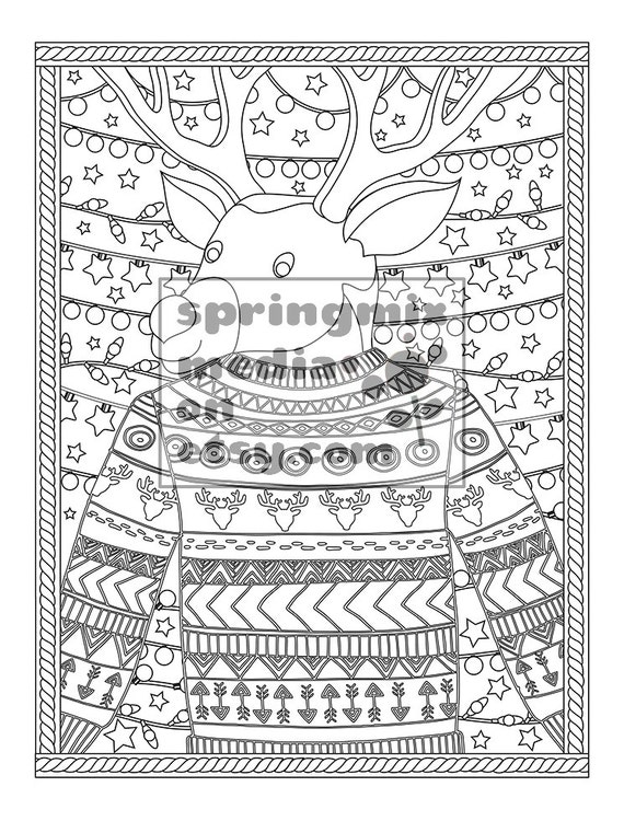christmas coloring page christmas treats holiday coloring book adult coloring page xmas sweater