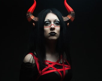 Ceremonial Demon Horns - Red and Gold