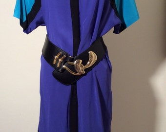 Vintage 1980s Pat Argenti Silk Color Block Dress, Size 6
