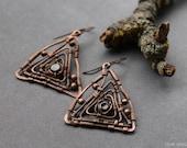Copper earrings,  wire work earrings, earrings with garnet, Christmas gift, asymmetrical earrings, triangle earrings