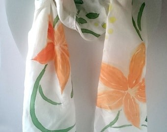 Orange Lily on White Handpainted Scarf