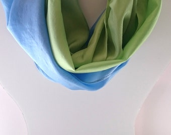 Spring Green to Sky Blue Ombre Dyed Scarf