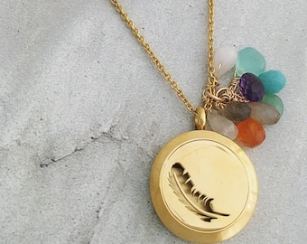 All the Gems / Stainless Steel / Gold Essential Oil Diffuser Locket / Feather Locket Necklace