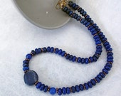 Handmade Beaded Necklace, Gemstone Beads, Semi Precious, Lapis Lazuli, Blue, Stone Jewelry, Single Strand, Gift for Women,  48cm (18.8In)