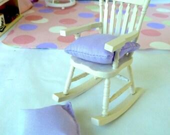 Rocking Chair white dollhouse miniature 1/12 scale w pillow