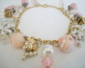 Upcycled Charm Bracelet in Shades of Pink- One of a kind Vintage