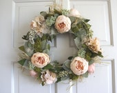 Door Wreath Peony Wreath Gift for Mum Front Door Spring Wreath Natural Large Rustic Wreath Shabby Chic Country Wreath English Country