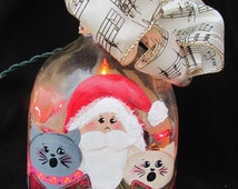 Decorative Hand Painted Wine/Patron Bottle with Lights - Santa Claus and Cats Christmas Accent Light