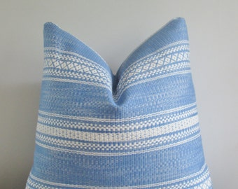 Blue Embroidered Pillow Cover // Decorative Throw Pillow, Accent Pillow 16 18 20 22 24 26 Euro