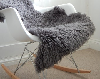 SALE! Dark Grey curly Sheepskin Rug / Throw /Genuine Superior Australian Sheepskin/ chair cover / hygge/ carpet